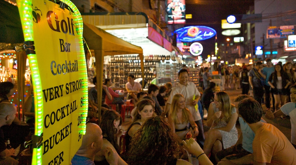 Khao San Road featuring street scenes, a bar and signage