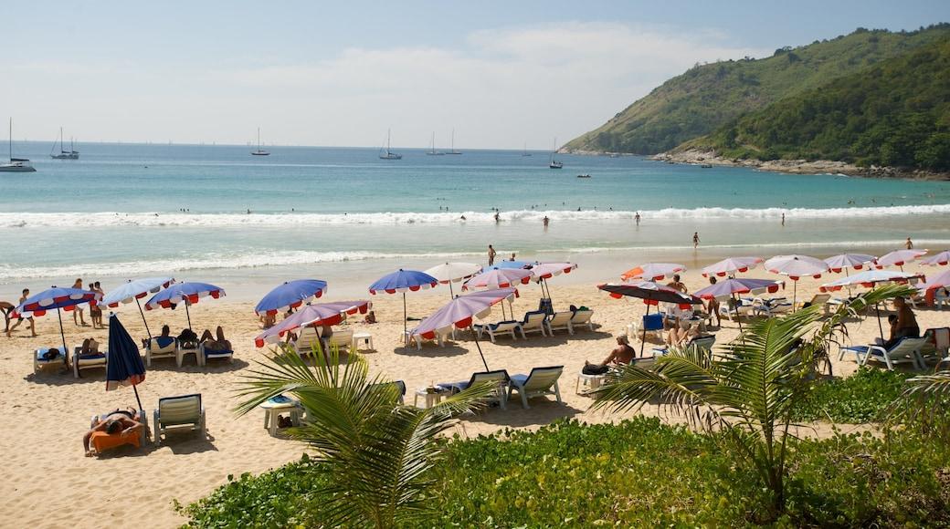 Nai Harn Beach featuring a sandy beach, surf and general coastal views