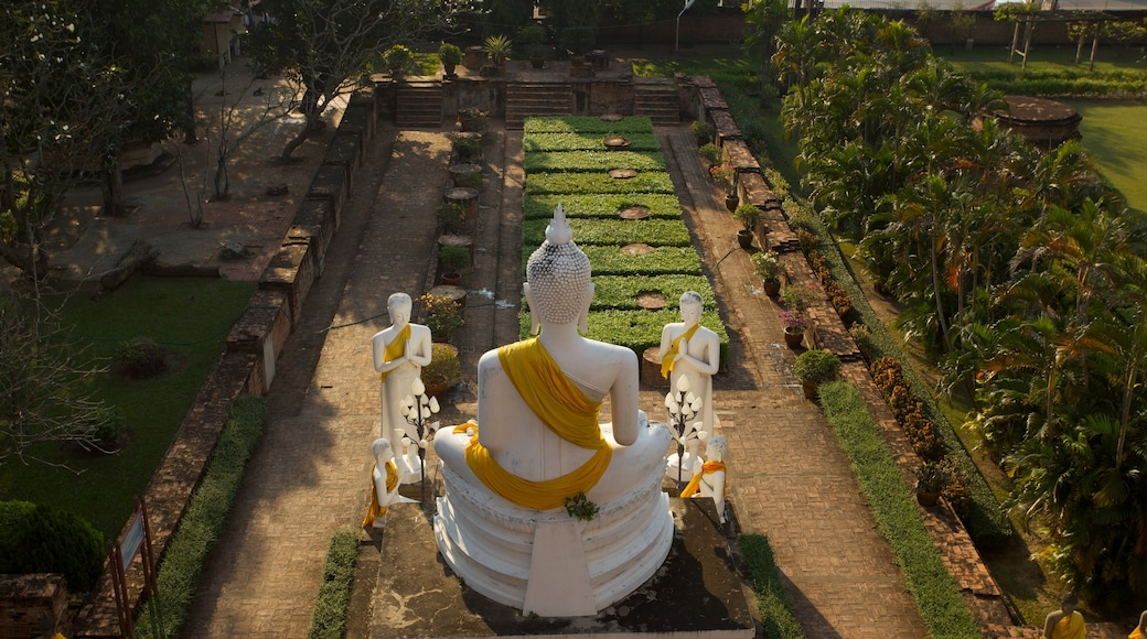 Ayutthaya showing a statue or sculpture, religious aspects and a garden