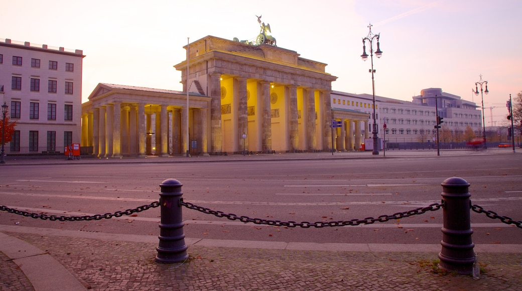 Brandenburg Gate which includes a square or plaza, an administrative building and a monument