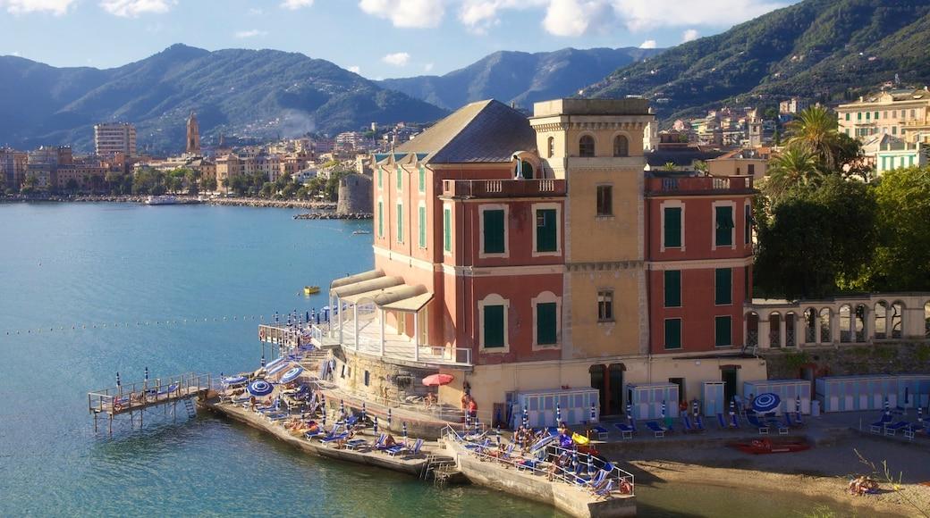 Rapallo som inkluderar stillsam natur, en hamn eller havsbukt och en kuststad