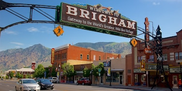 Brigham City which includes signage and a small town or village