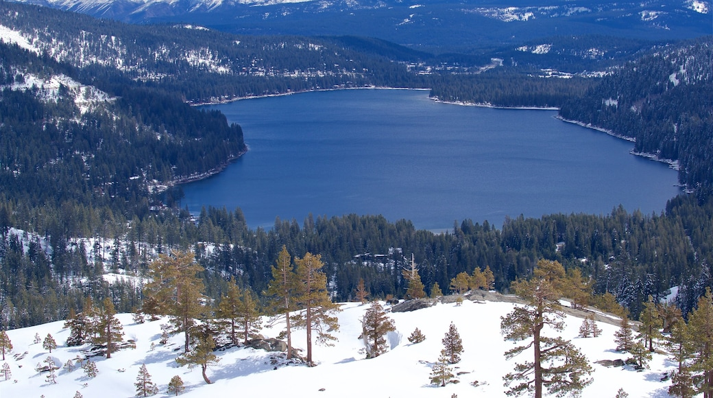 Tahoe National Forest which includes snow, tranquil scenes and a lake or waterhole