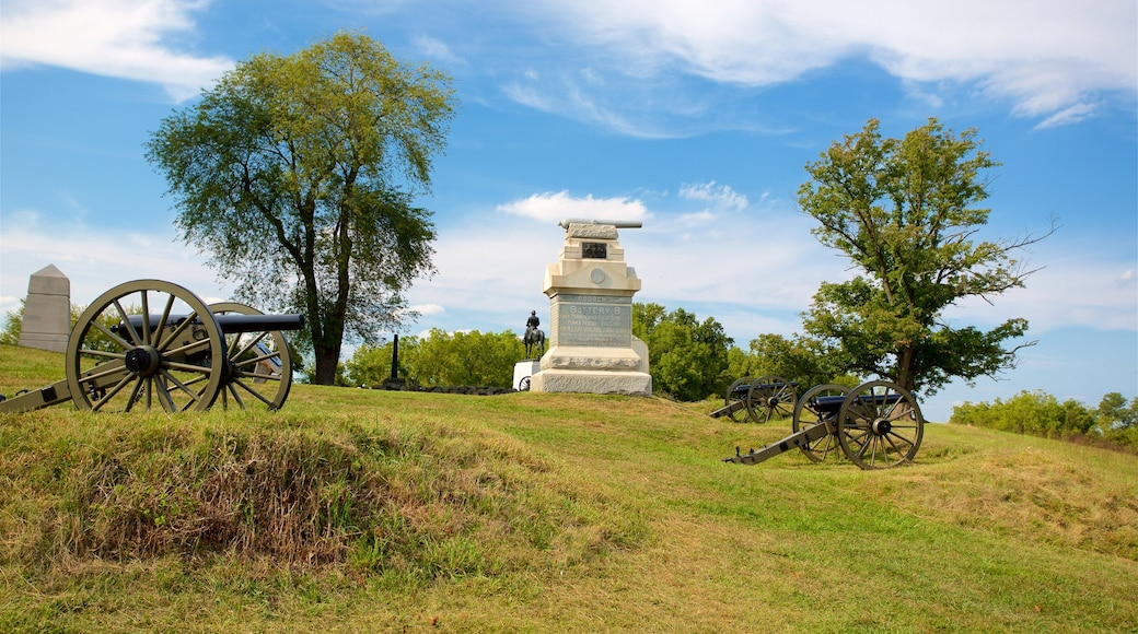 Gettysburg National Military Park which includes military items, a garden and heritage elements