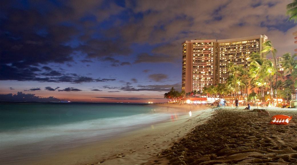 Waikiki Beach featuring a coastal town, a sandy beach and general coastal views