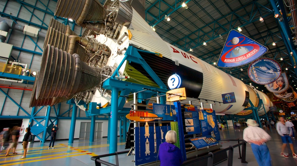 JFK Space Center which includes heritage elements and interior views as well as a small group of people