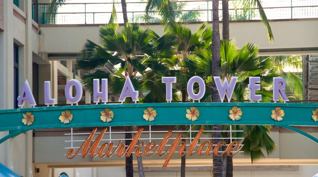 Aloha Tower Marketplace which includes signage