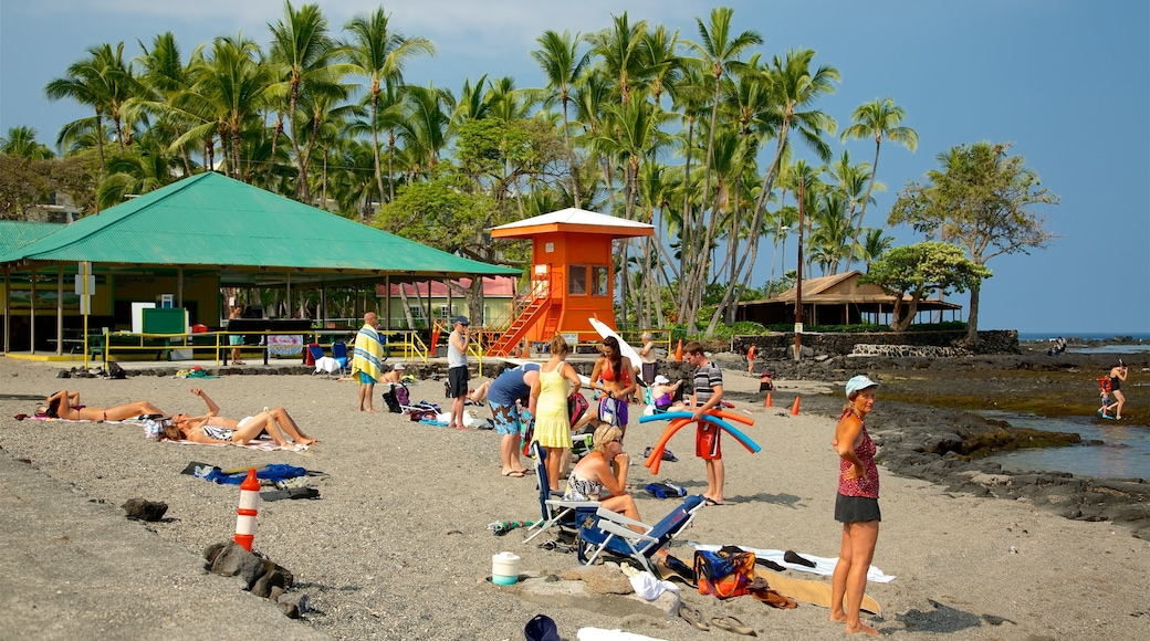 Kahalu\'u Beach Park featuring general coastal views as well as a small group of people