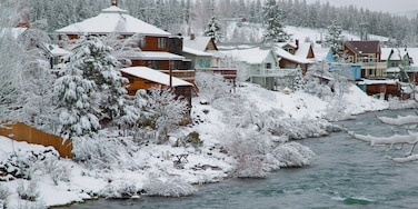 Truckee showing a river or creek, a small town or village and snow