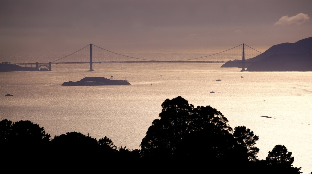 Berkeley showing a sunset, general coastal views and a river or creek