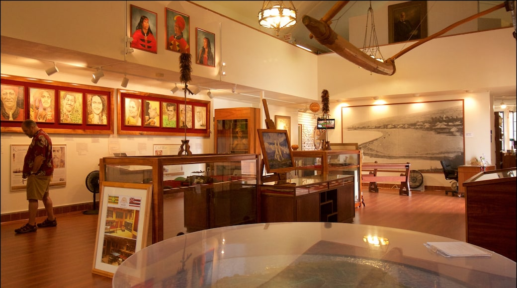 Kauai Museum featuring interior views and art as well as an individual male