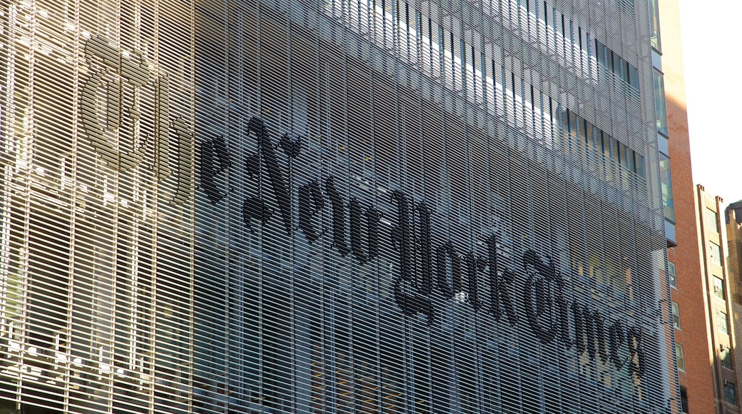New York Times Building showing signage and a city