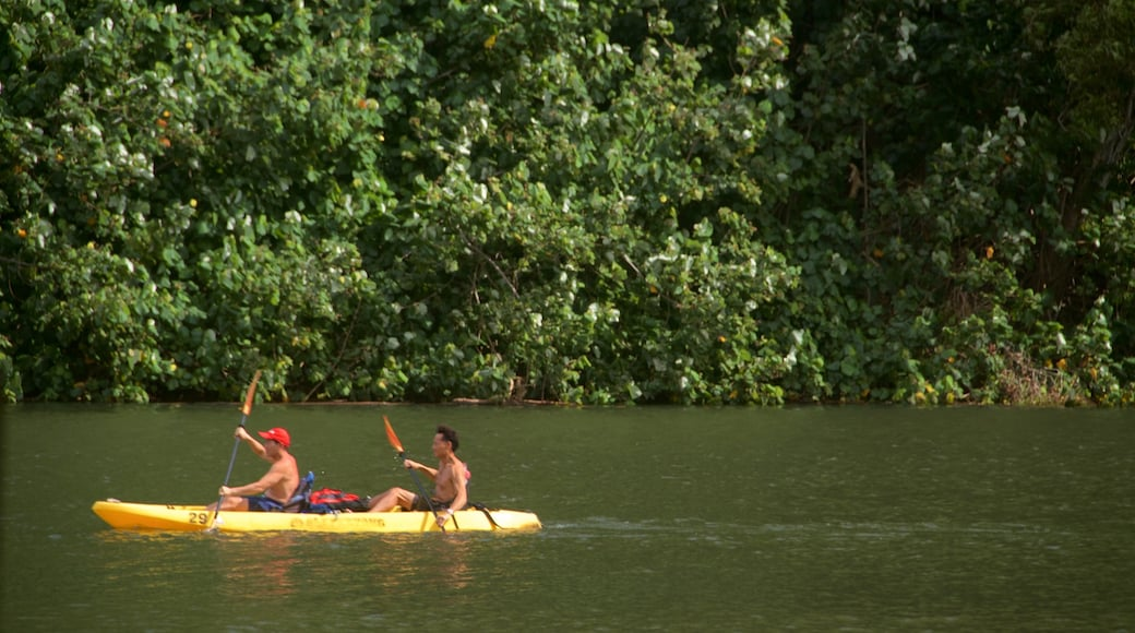 Kamokila Hawaiian Village featuring kayaking or canoeing and a river or creek as well as a couple