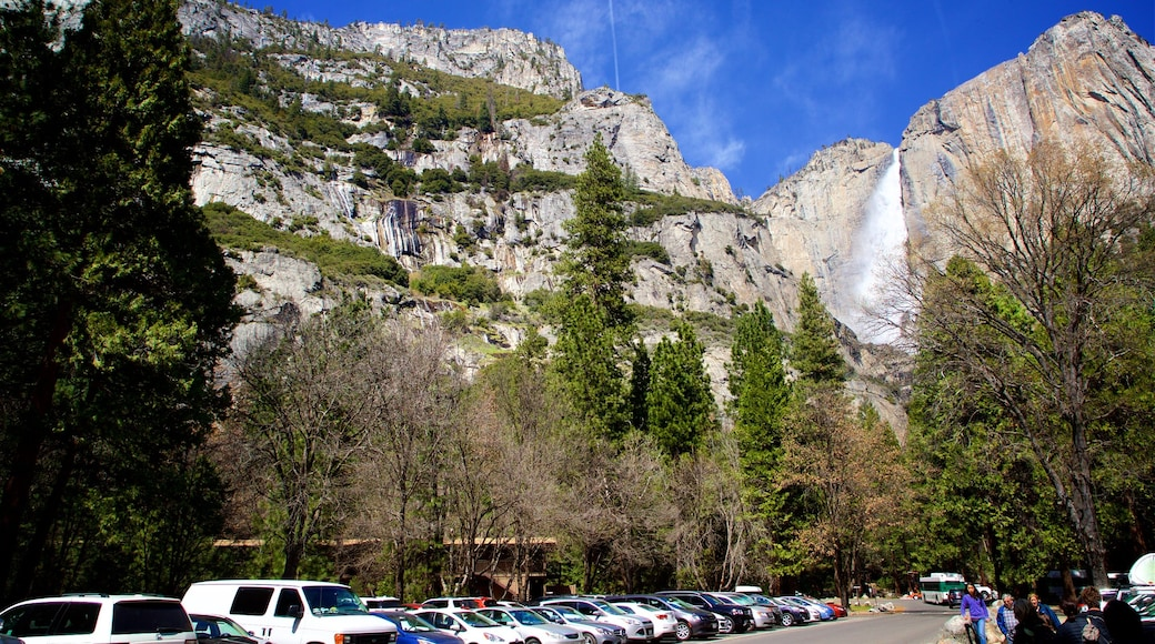 Yosemite Lodge Amphitheater which includes mountains and a cascade