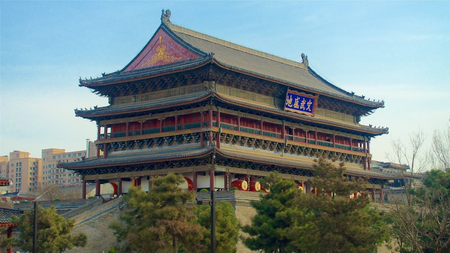 Drum Tower which includes heritage architecture and a city