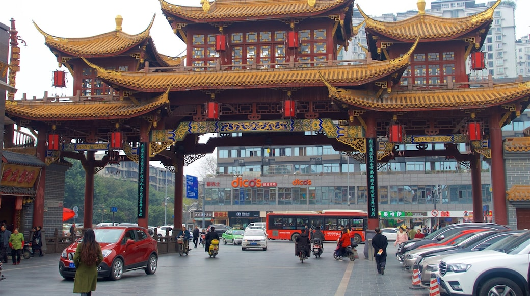 Sichuan showing heritage elements, heritage architecture and a city
