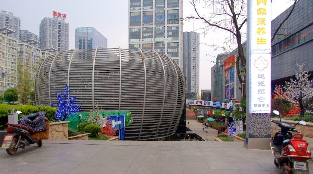 昆明 呈现出 城市, 摩天大樓 和 指示牌