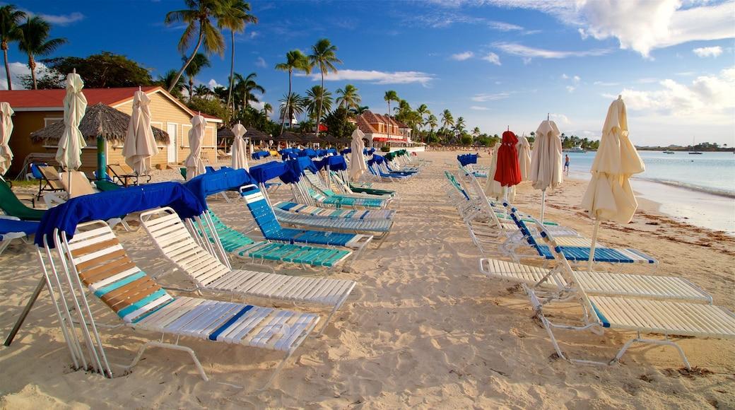 Dickenson Bay Beach showing tropical scenes, a sandy beach and general coastal views