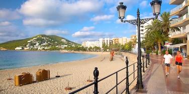 Ibiza Island which includes general coastal views, a coastal town and a sandy beach