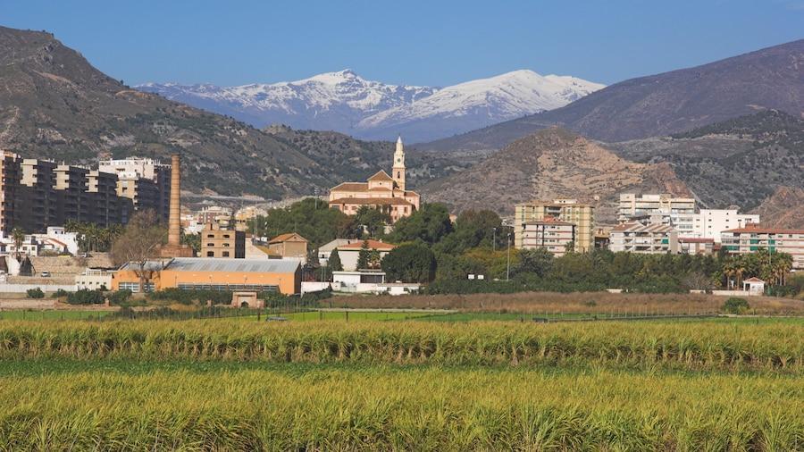 Motril mostrando uma cidade pequena ou vila, montanhas e cenas tranquilas