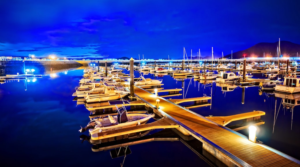 Laredo que incluye una bahía o un puerto y escenas nocturnas