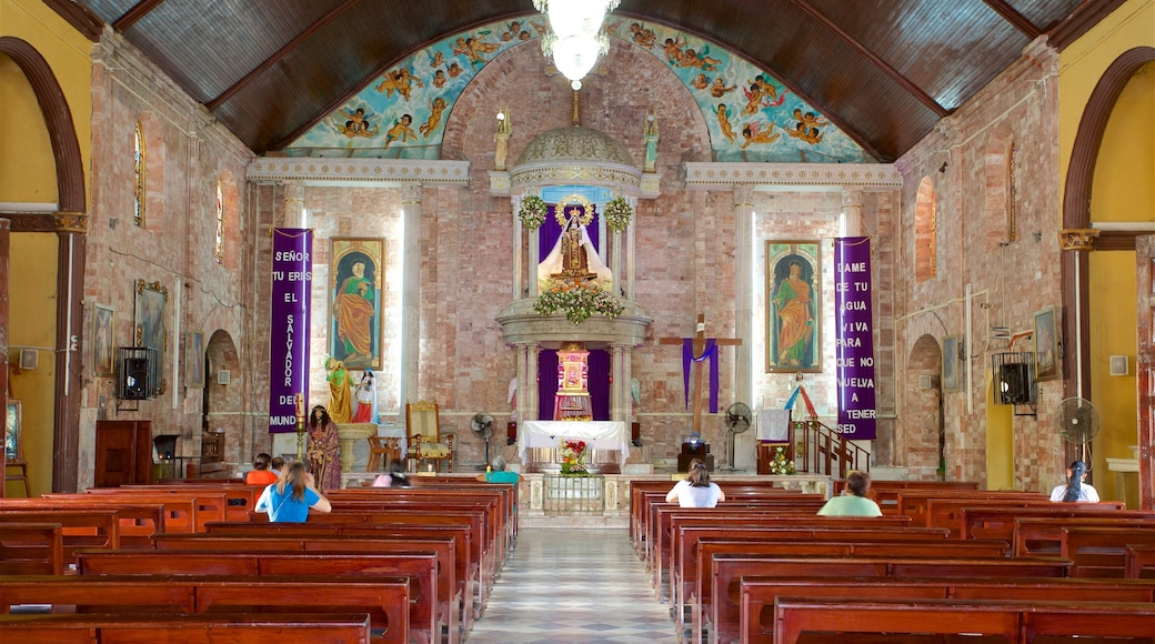 Our Lady of Carmen Church showing heritage elements, interior views and a church or cathedral
