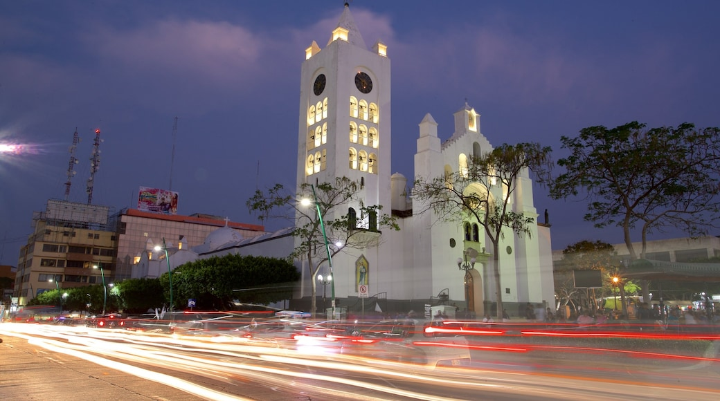 San Marcos Cathedral showing night scenes, heritage elements and a church or cathedral