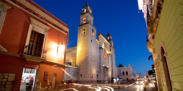 Merida Cathedral which includes heritage architecture and night scenes