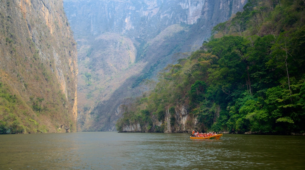 Canon del Sumidero National Park which includes boating, a river or creek and a gorge or canyon
