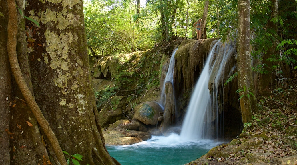 Cascada de Roberto Barrios featuring a river or creek and a cascade as well as an individual femail