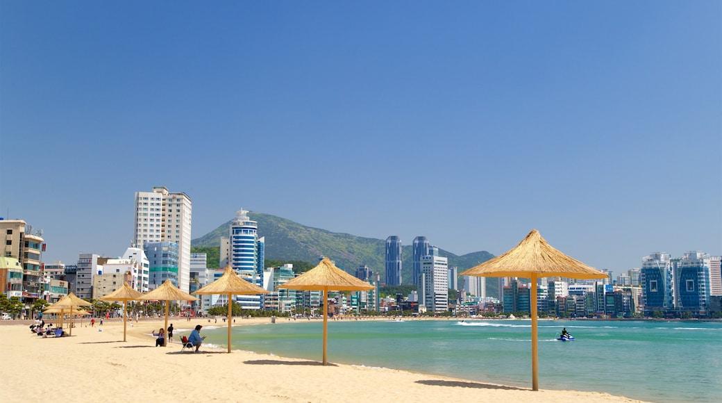 Gwangalli Beach featuring general coastal views, a beach and a coastal town