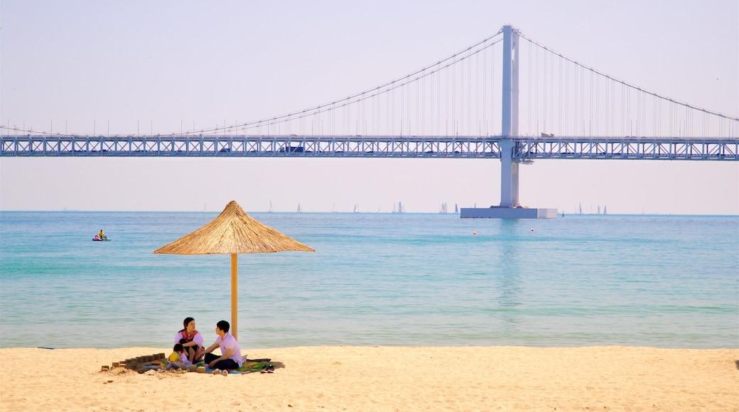 Gwangalli Beach featuring a sandy beach, general coastal views and a bridge