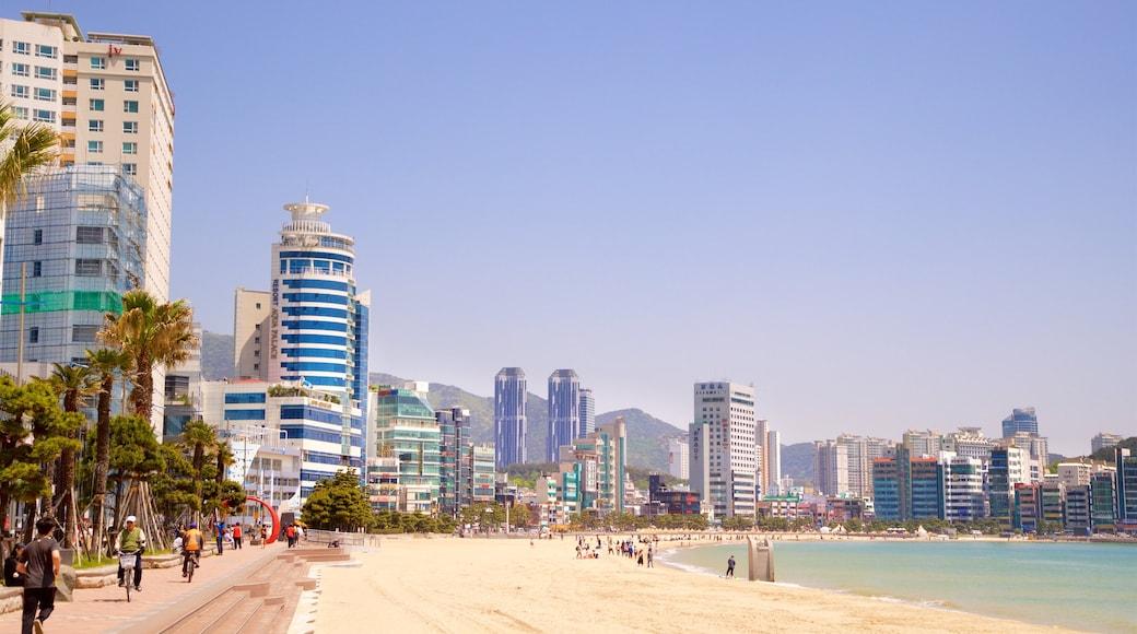 Gwangalli Beach which includes a beach, a coastal town and a city