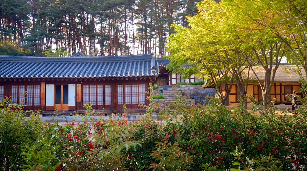 Gangneung Seongyojang House showing heritage elements and wild flowers