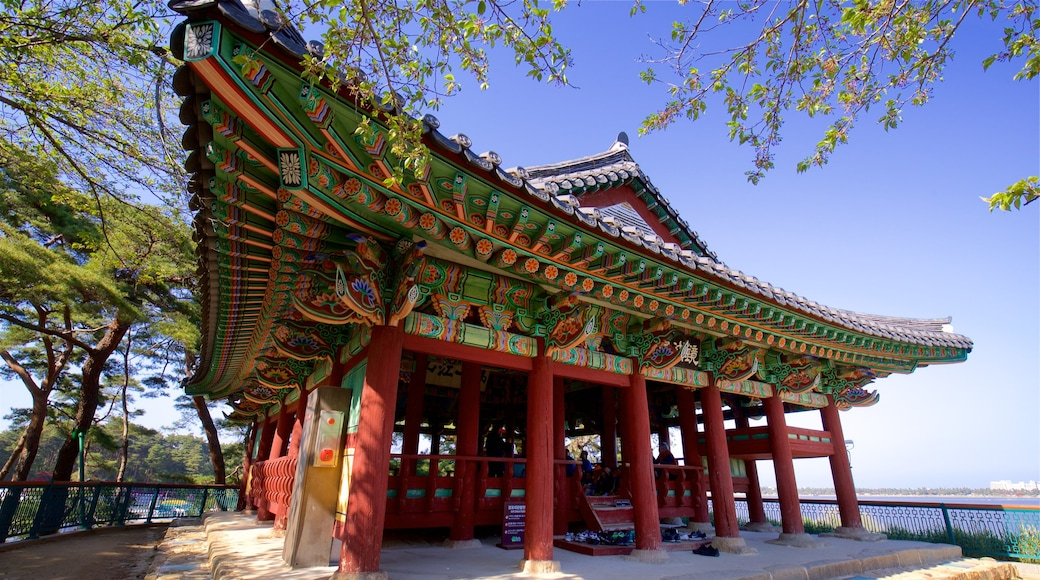 Gyeongpodae featuring general coastal views and heritage architecture
