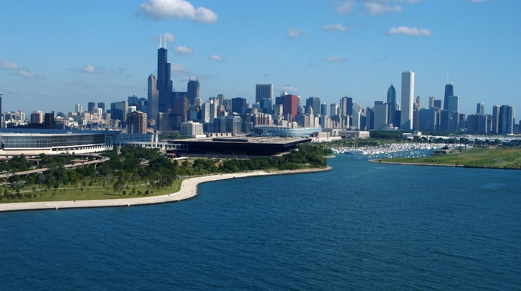 McCormick Place featuring a river or creek, a city and landscape views