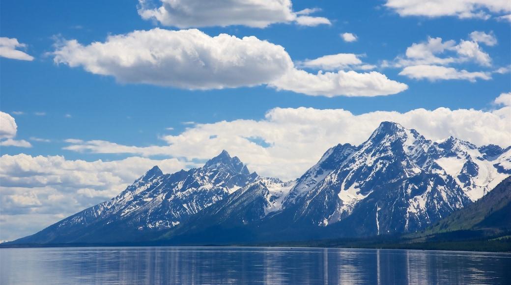 Jackson Lake johon kuuluu järvi tai vesikuoppa ja vuoret