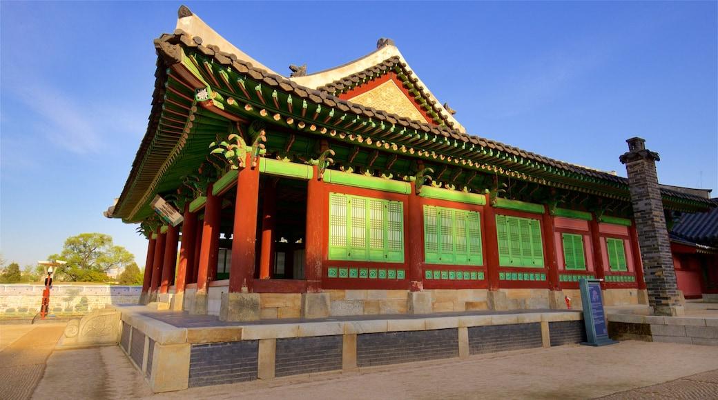 Palácio Hwaseong Haenggung caracterizando um pôr do sol e arquitetura de patrimônio