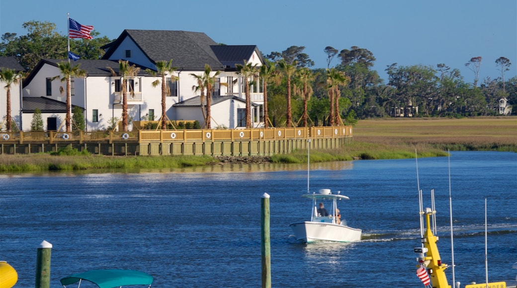St. Simons Island showing a bay or harbor, boating and a house