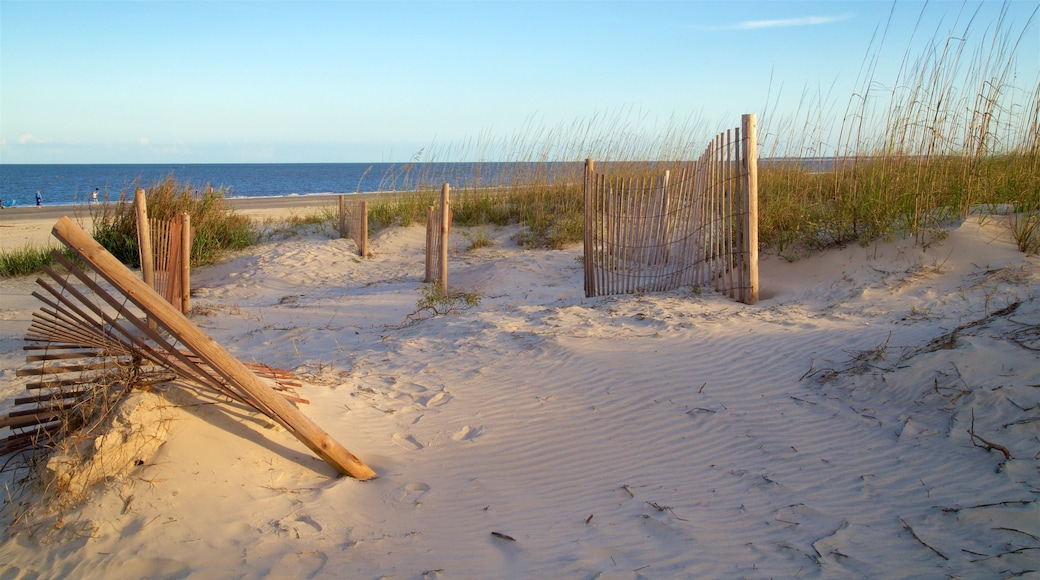 Great Dunes Park which includes general coastal views, a sunset and a beach