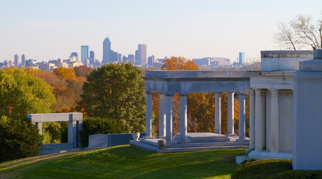 Indianapolis showing a park, a city and a skyscraper