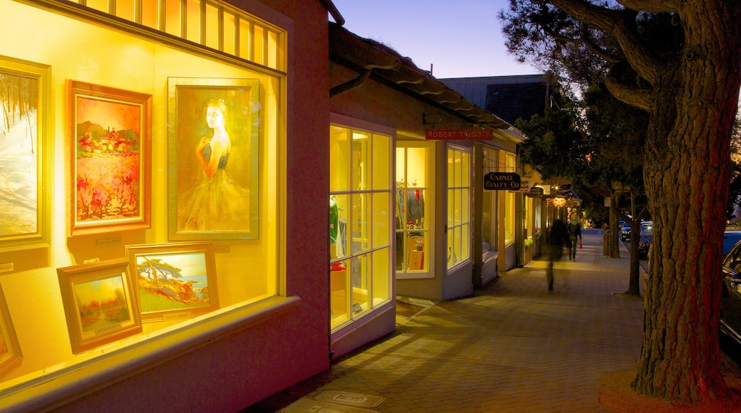Carmel which includes shopping, street scenes and night scenes
