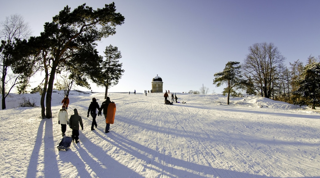 Helsinki featuring hiking or walking, landscape views and snow