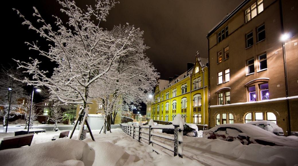 Helsinki joka esittää lunta, katunäkymät ja talo