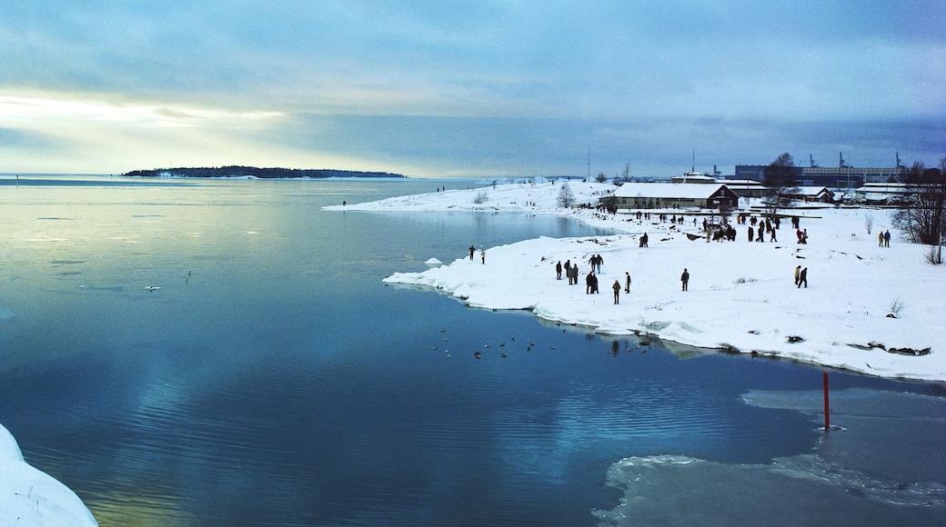 Helsinki joka esittää maisemat, lunta ja hiekkaranta
