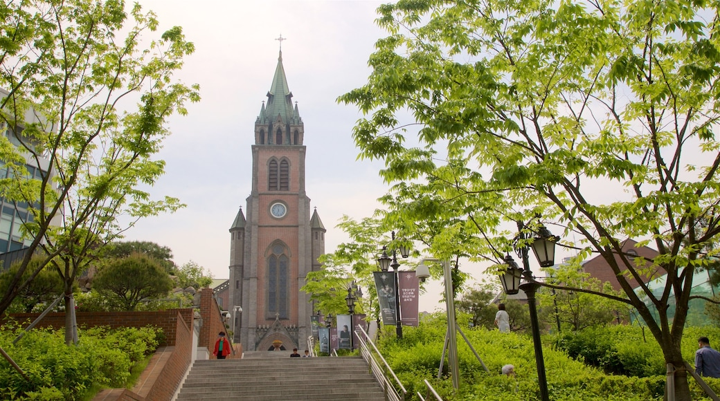 Myeongdong Cathedral showing a park, a church or cathedral and heritage architecture