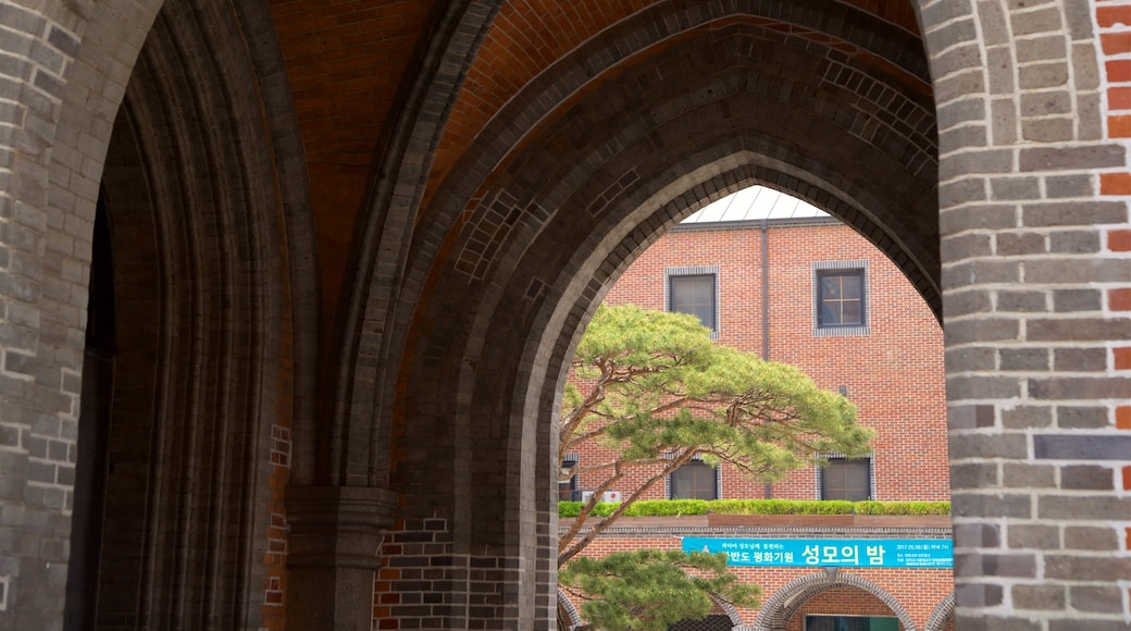 Myeongdong Cathedral showing heritage elements and interior views