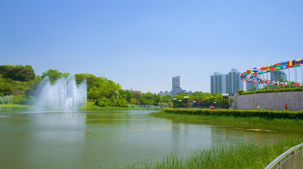 สวนโอลิมปิก เนื้อเรื่องที่ เมือง, น้ำพุ และ แม่น้ำหรือลำธาร