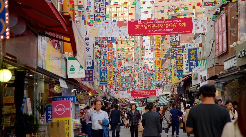 南大門市場 设有 核心商業區, 城市 和 指示牌