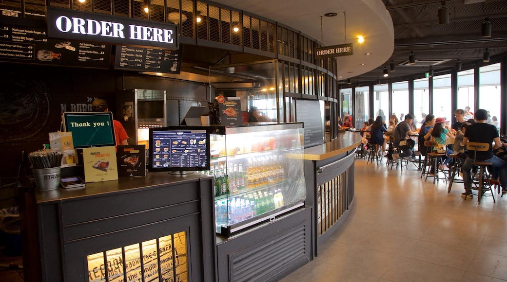 Namsan Park showing interior views and cafe lifestyle as well as a small group of people